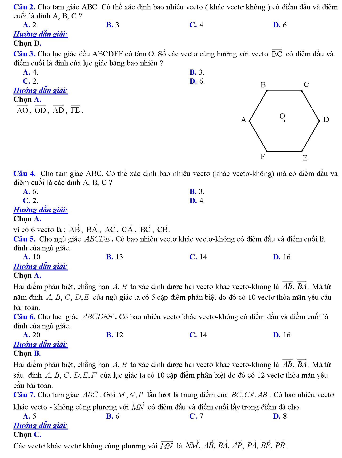 bài tập về vectơ lớp 10 có lời giải