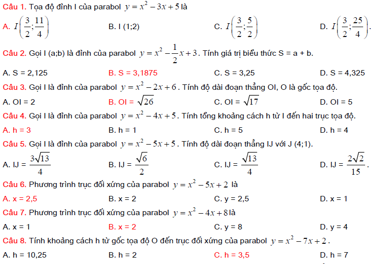 các bài toán về parabol lớp 10 và đường thẳng