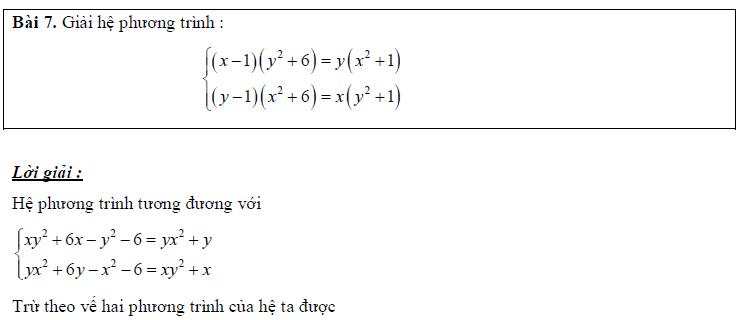 Các phương pháp giải hệ phương trình