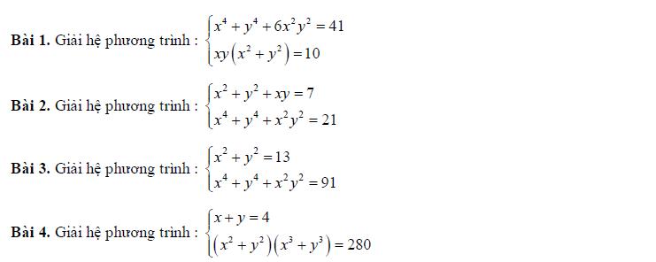 Bài tập giải hệ phương trình lớp 10 có giải