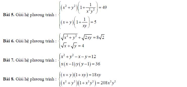 Bài tập giải hệ phương trình lớp 10 đề nghị