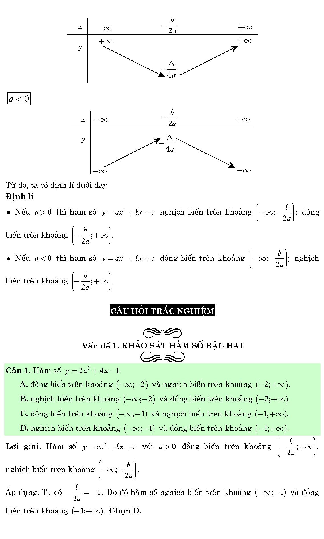 bài tập trắc nghiệm nhận dạng đồ thị hàm số
