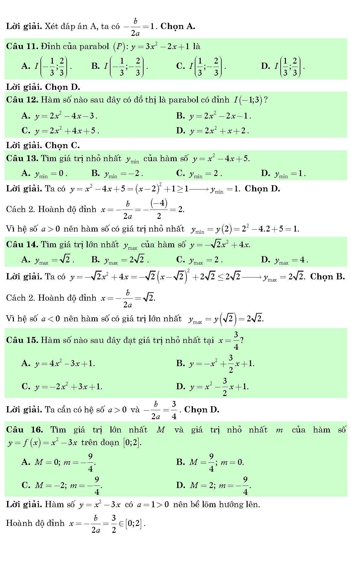 các dạng bài tập về đồ thị hàm số 12