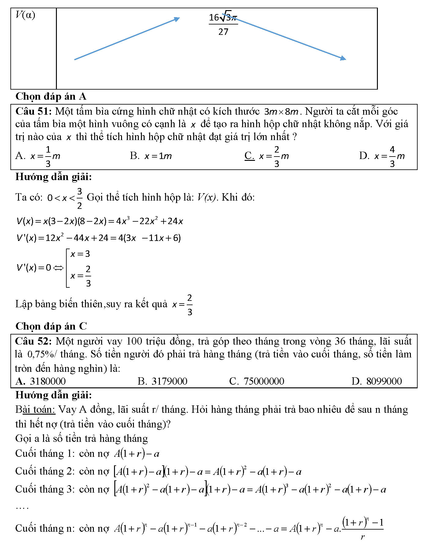 toán thực tế lớp 12