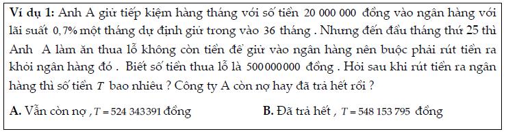 Bài toán lãi suất ngân hàng