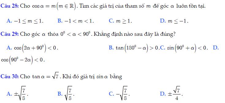 Trắc nghiệm chương 5: Cung và góc lượng giác. Công thức lượng giác