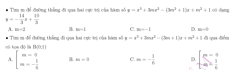 phương trình đường thẳng đi qua 2 điểm cực trị