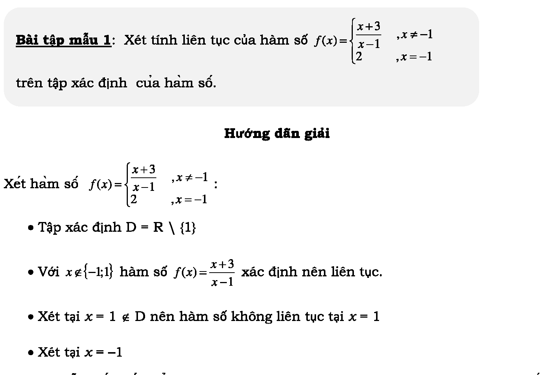 Bài tập hàm số liên tục