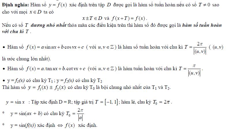 Tìm tập xác định, tập giá trị, xét tính chẵn lẻ, chu kỳ của hàm số