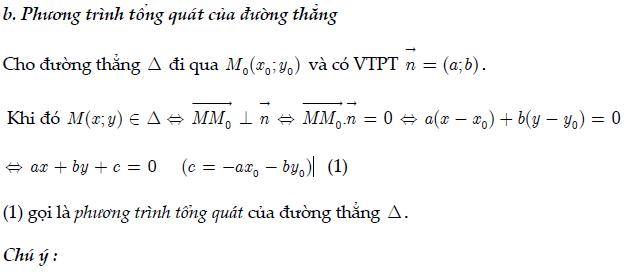 phương trình tổng quát và véc tơ chỉ phương