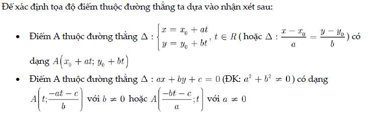 Xác định tọa độ điểm thuộc đường thẳng