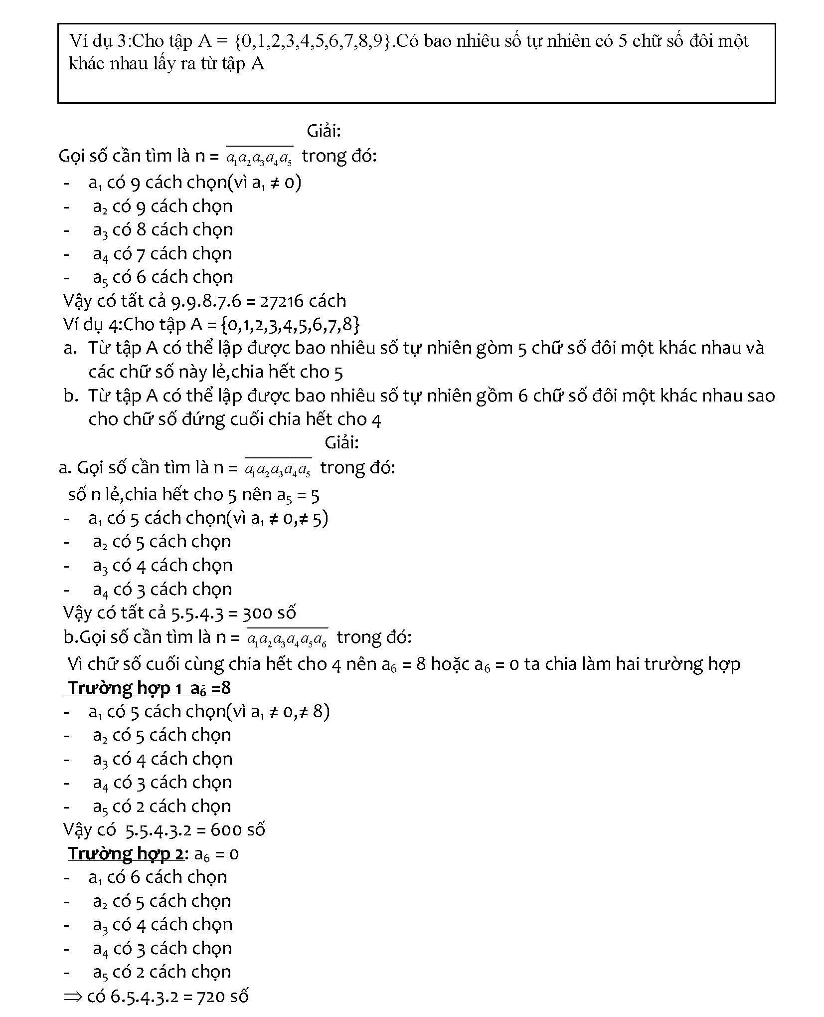 Bài tập quy tắc đếm lớp 11 có lời giải chi tiết