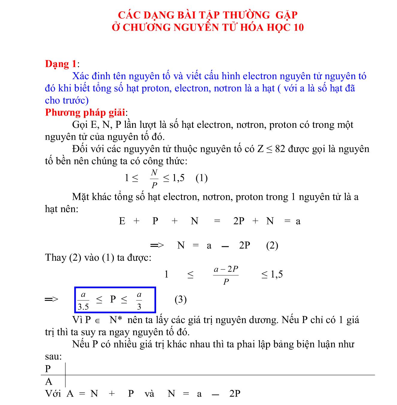 các dạng toán thường gặp chương nguyên tử