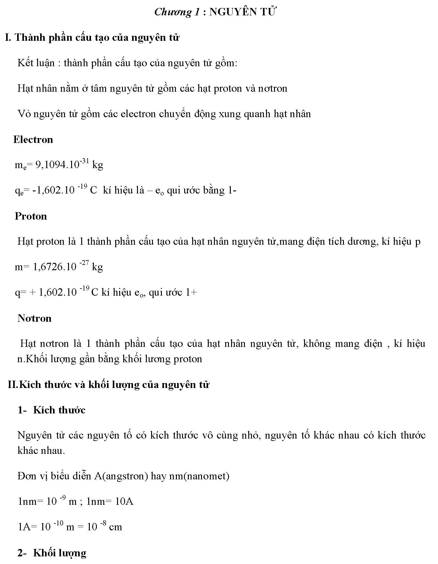 Lý thuyết hóa học 10