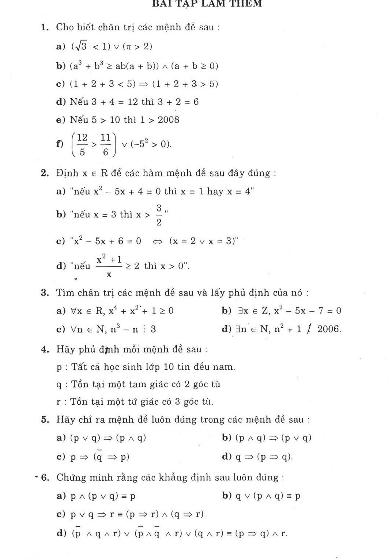 bài tập chuyên đề mệnh đề tập hợp lớp 10