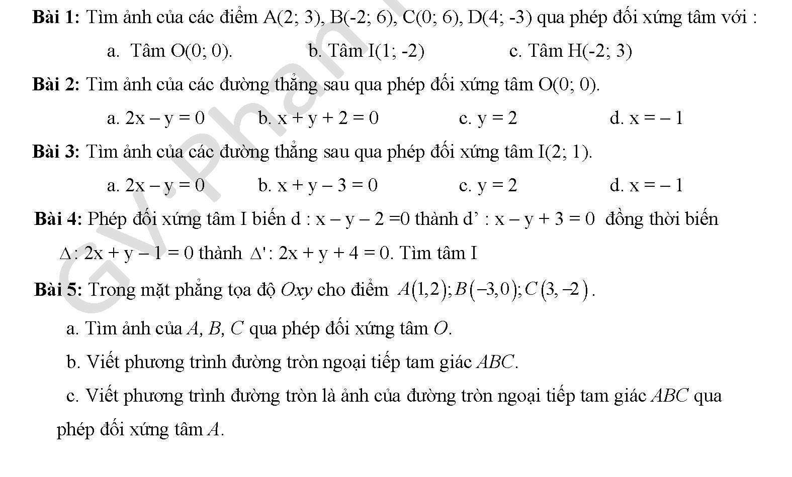 Bài tập phép đối xứng trục