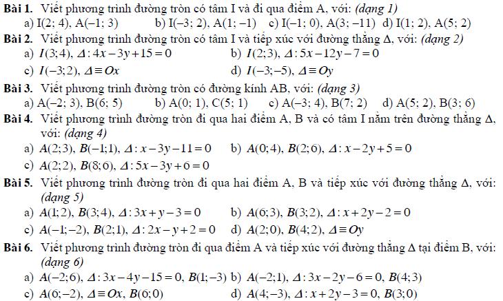 lập phương trình đường tròn