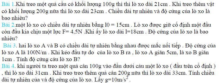 bài tập về lực đàn hồi của lò xo