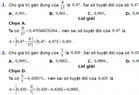 Bài tập trắc nghiệm về số gần đúng và sai số - Toán Lớp 10