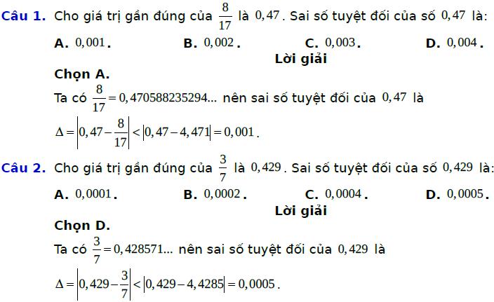 Bài tập trắc nghiệm về số gần đúng và sai số – Toán Lớp 10