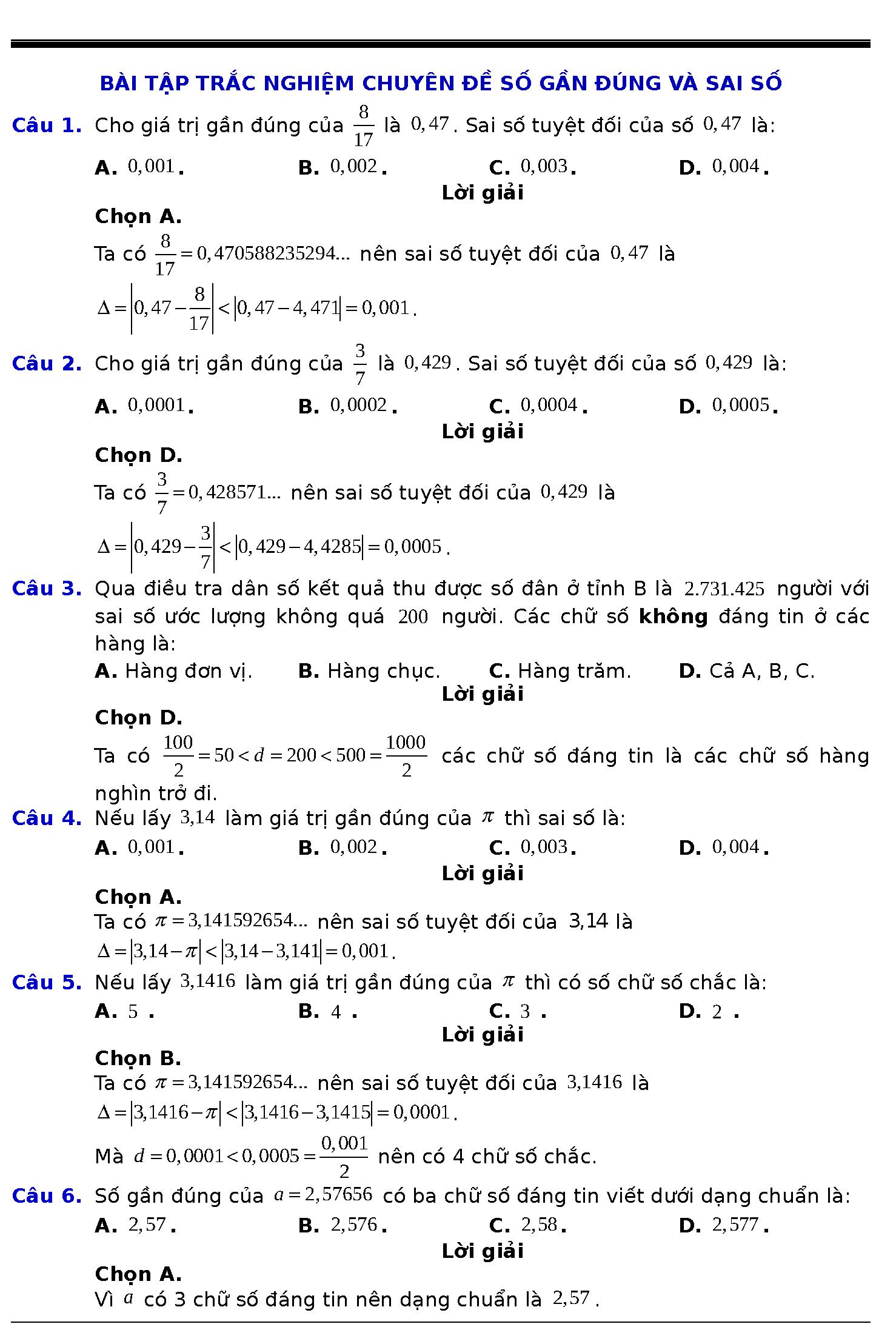 các dạng bài tập về số gần đúng và sai số