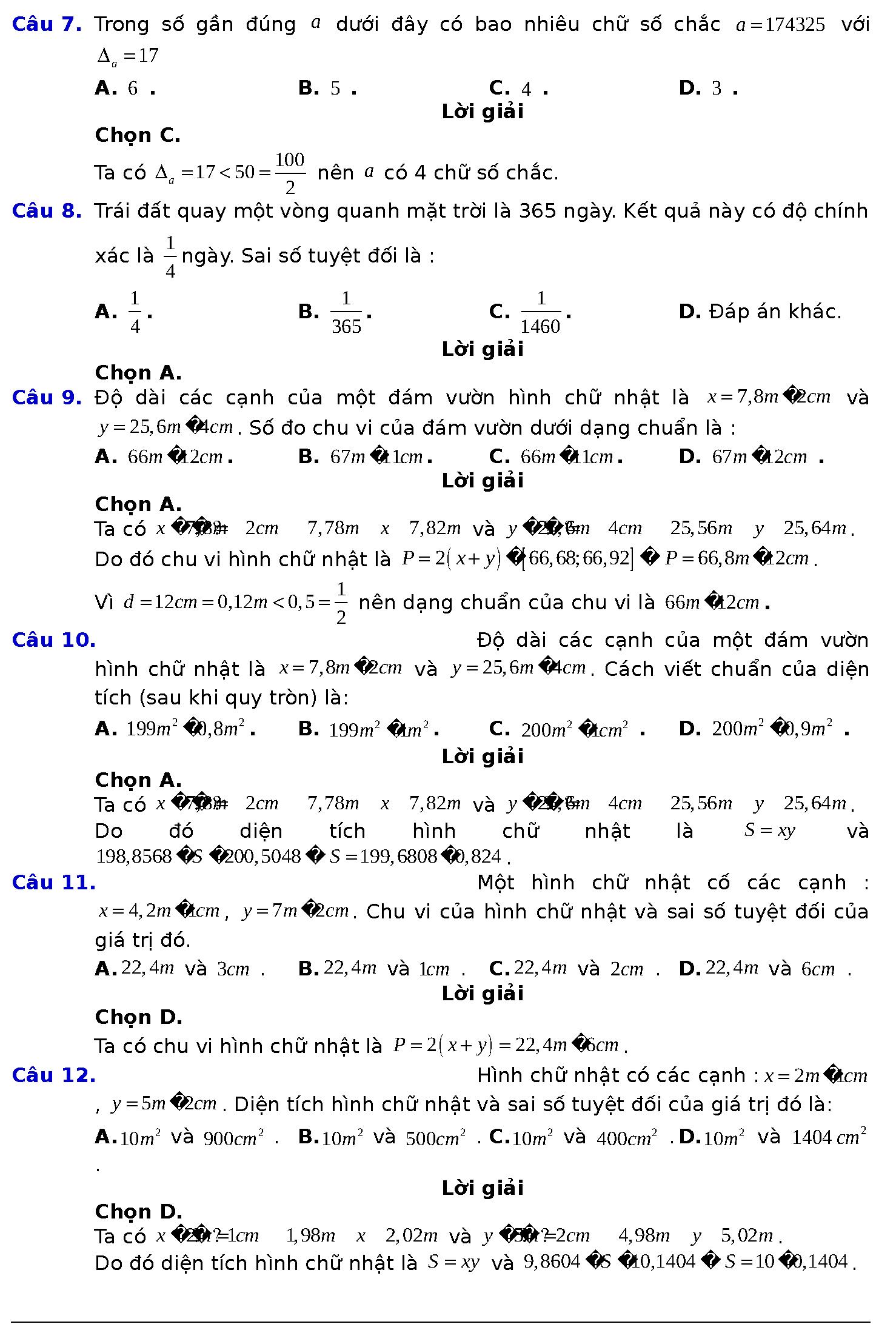 bài tập số gần đúng và sai số lớp 10 violet
