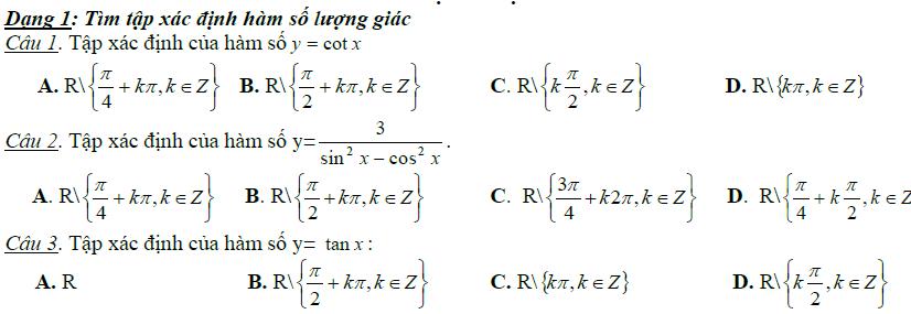 Trắc nghiệm lượng giác 11