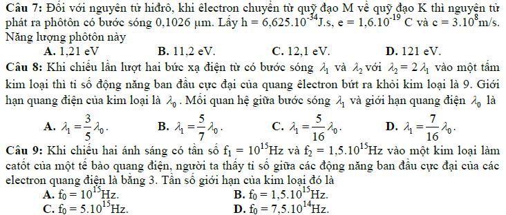 Bài tập kiểm tra chương 6 vật lý