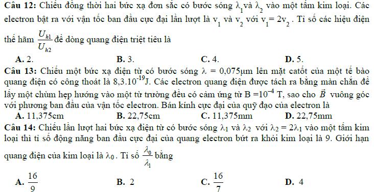 Đáp án trắc nghiệm vật lý 11 chương 6