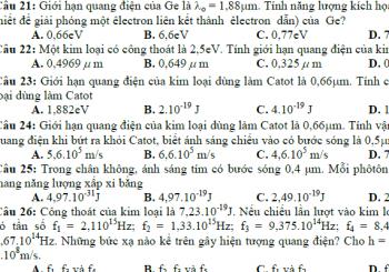 Trắc nghiệm vật lý 11 chương 6 có đáp án chi tiết nhất