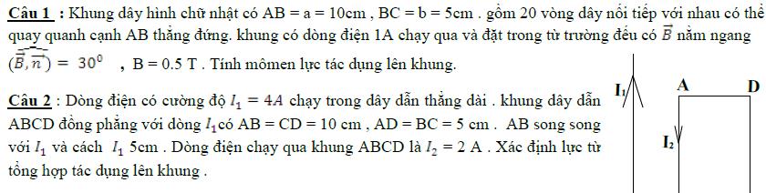 Bài tập vật lý 11 chương 4 có đáp án