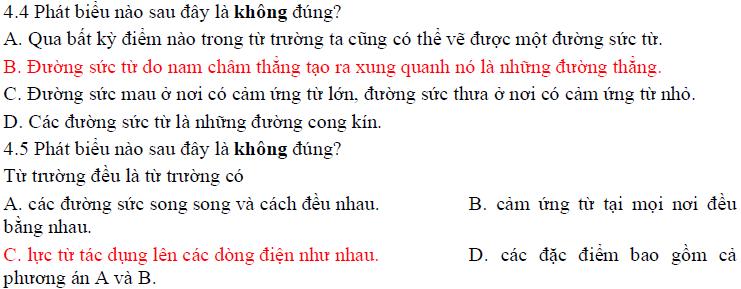 Trắc nghiệm vật lý 11 chương 4 có đáp án