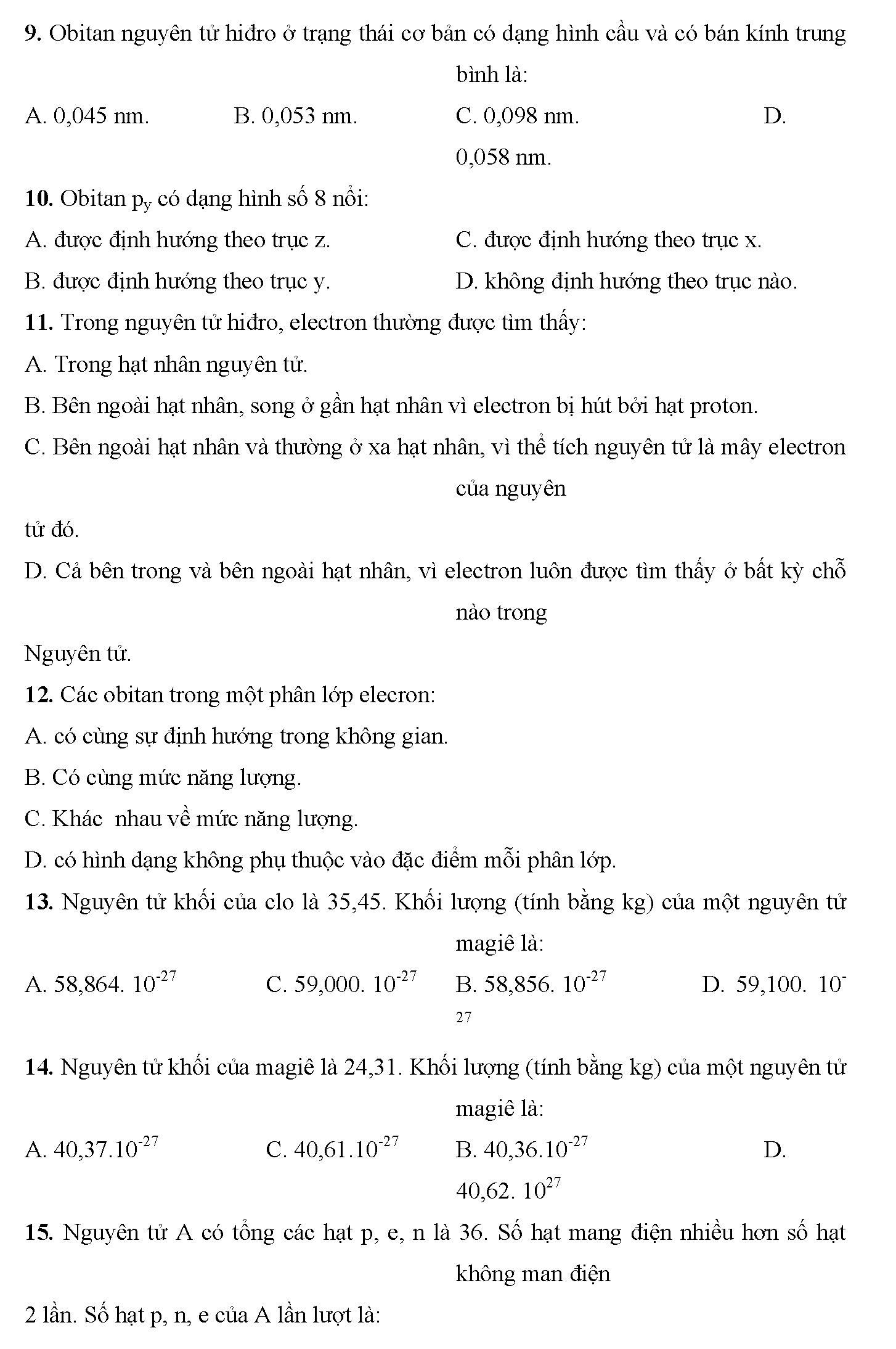 trắc nghiệm hóa 10