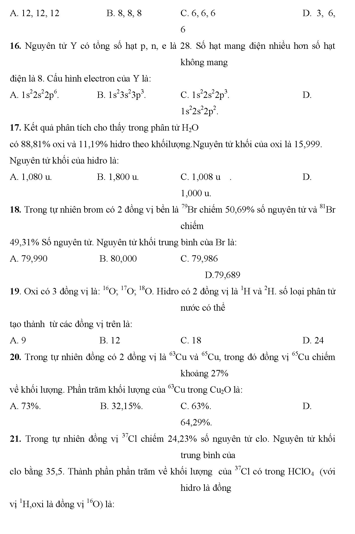 bài tập trắc nghiệm chương 4 hóa 10