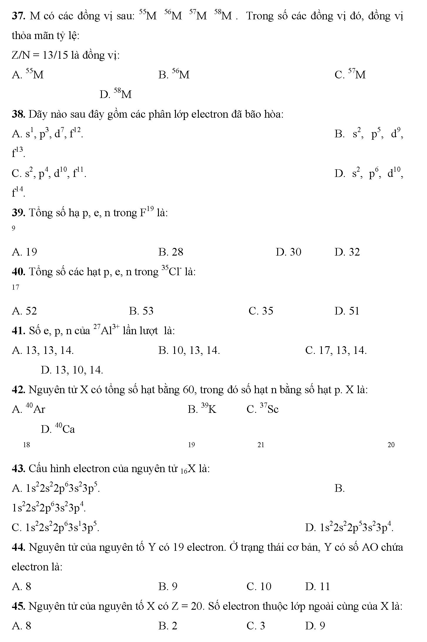 bài tập trắc nghiệm về thành phần nguyên tử