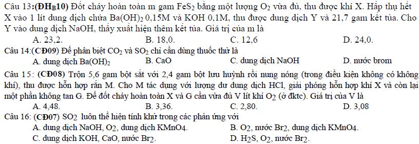 Bài tập tự luận oxi lưu huỳnh