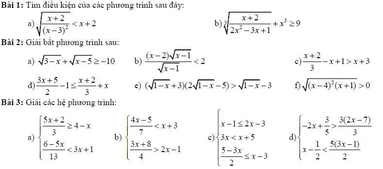 Bài tập ôn tập toán 10 học kì 2