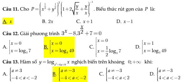 trắc nghiệm toán phần logarit toán lớp 12