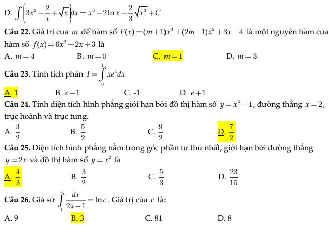 Trắc nghiệm toán phần nguyên hàm tích phân ứng dụng