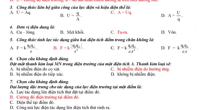 đề kiểm tra vật lý 11 chương 1