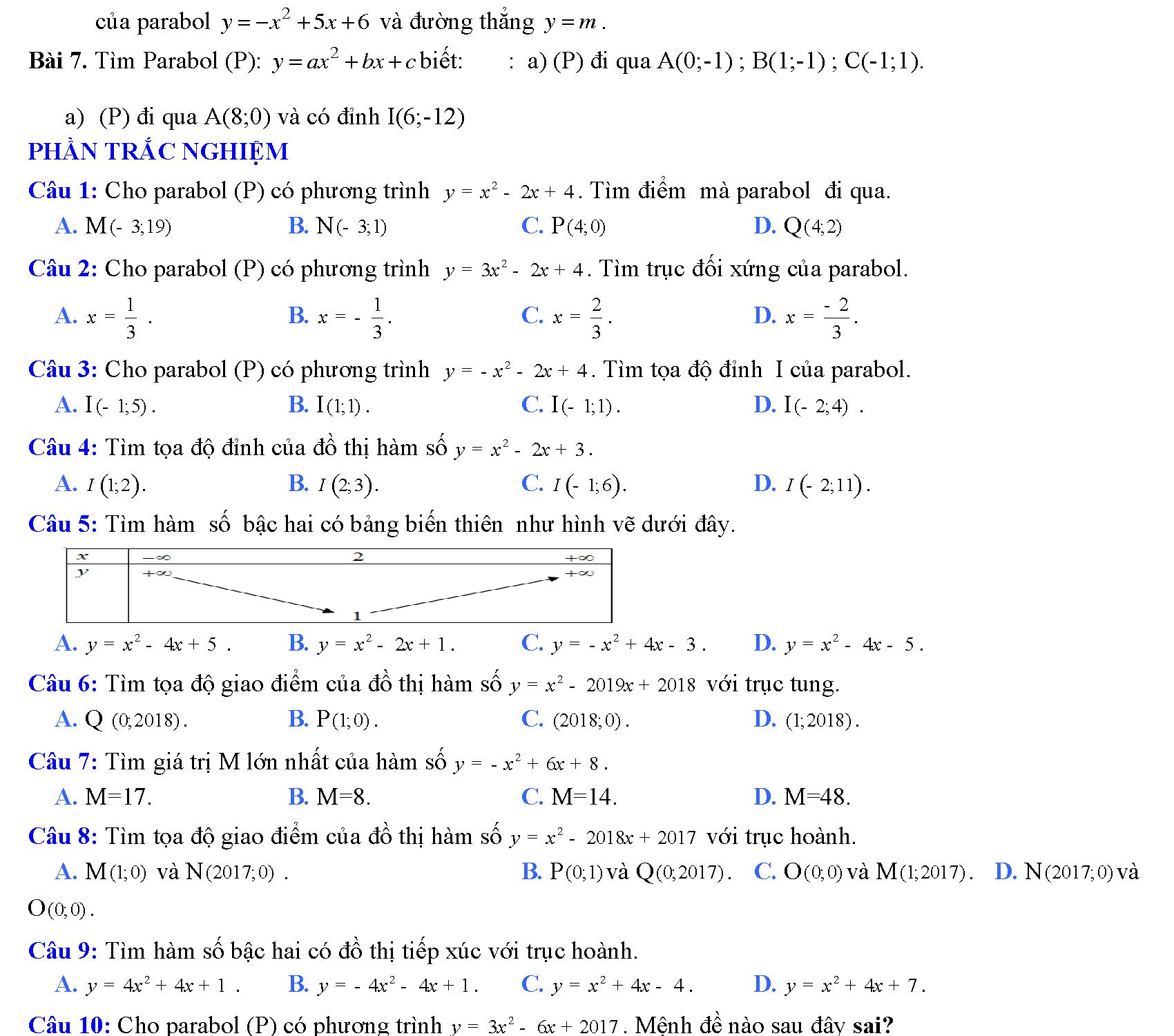 bài tập hàm số bậc hai lớp 10 violet