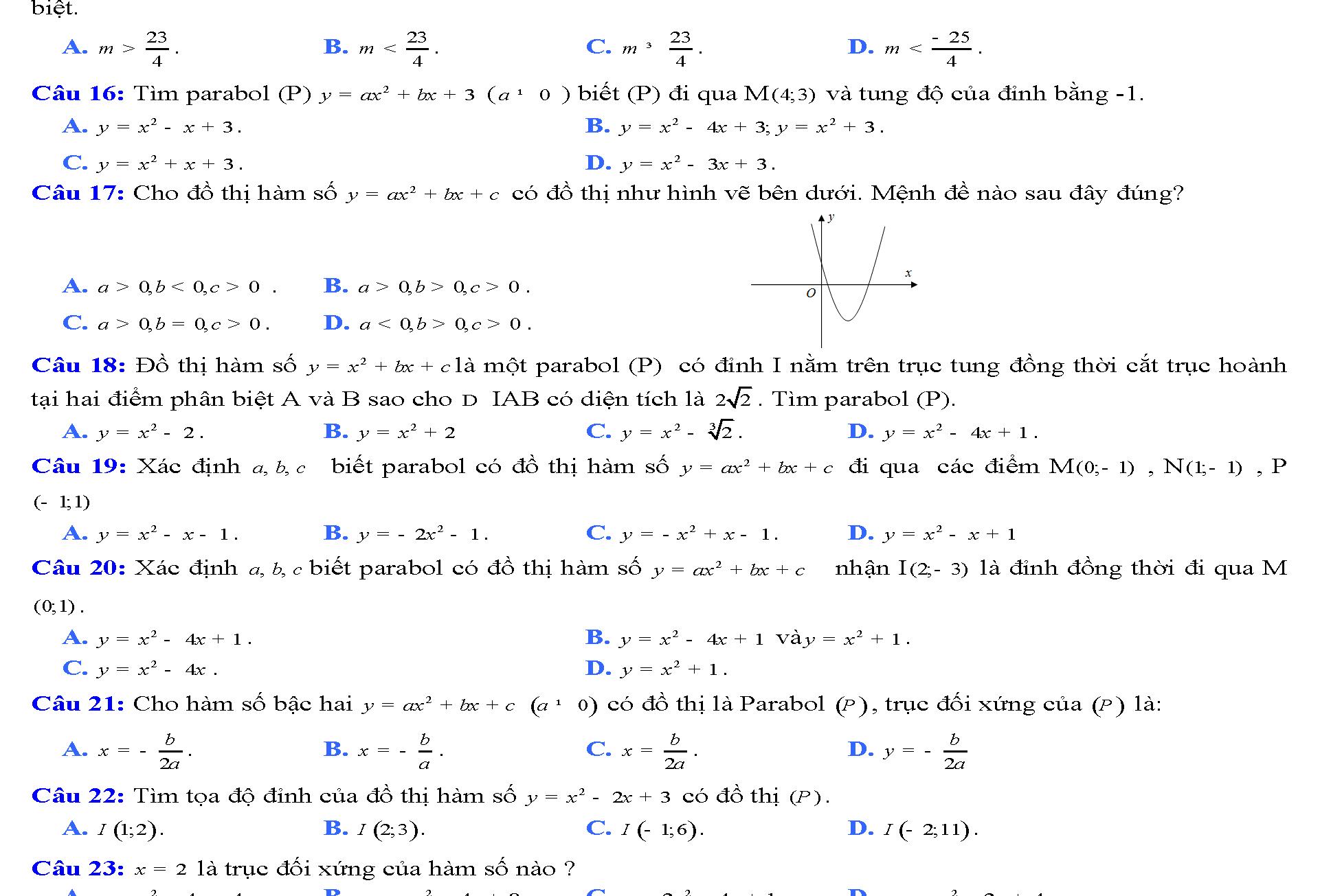 hàm số bậc hai lớp 9