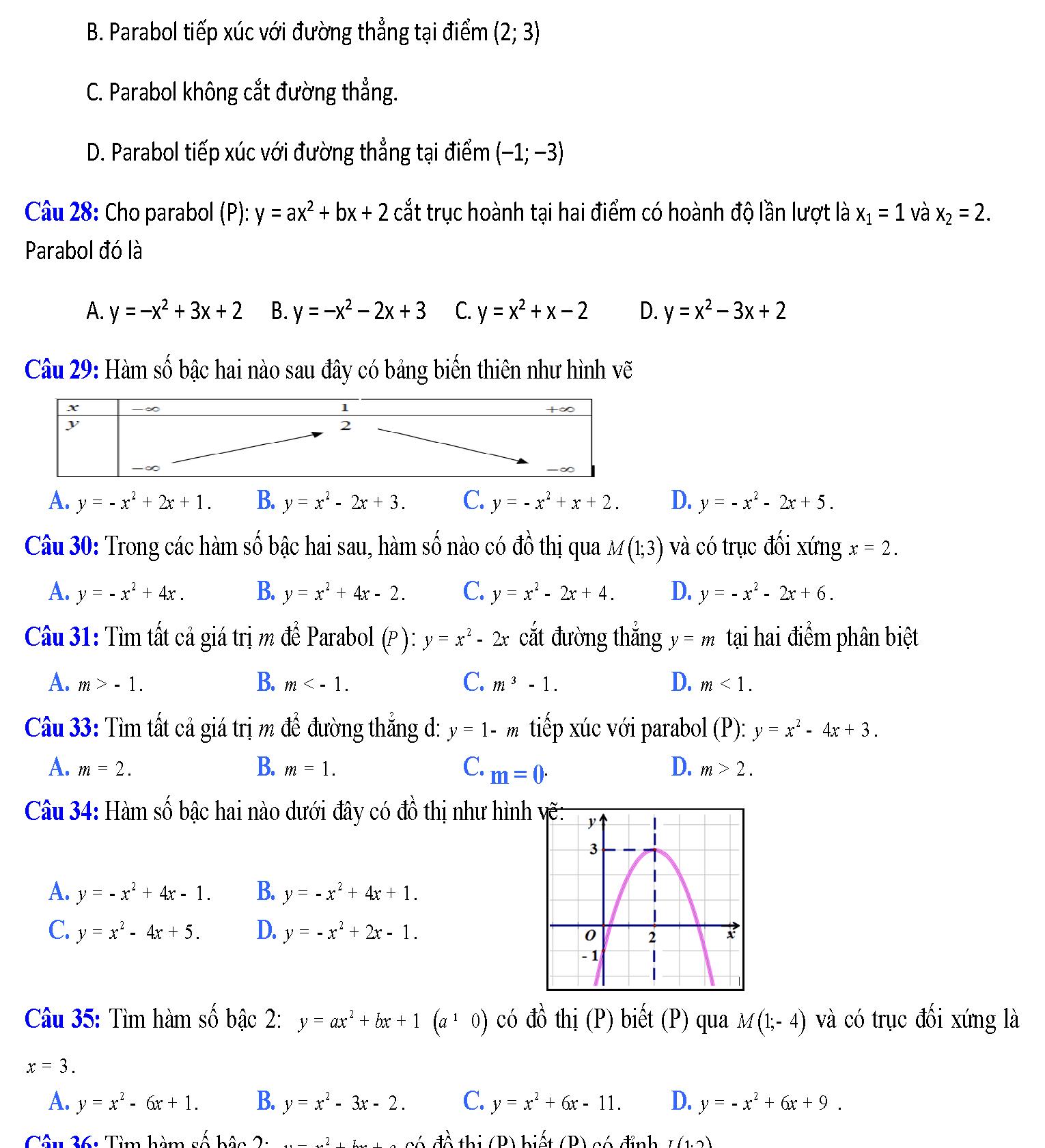 hàm số bậc hai lớp 10 trang 49