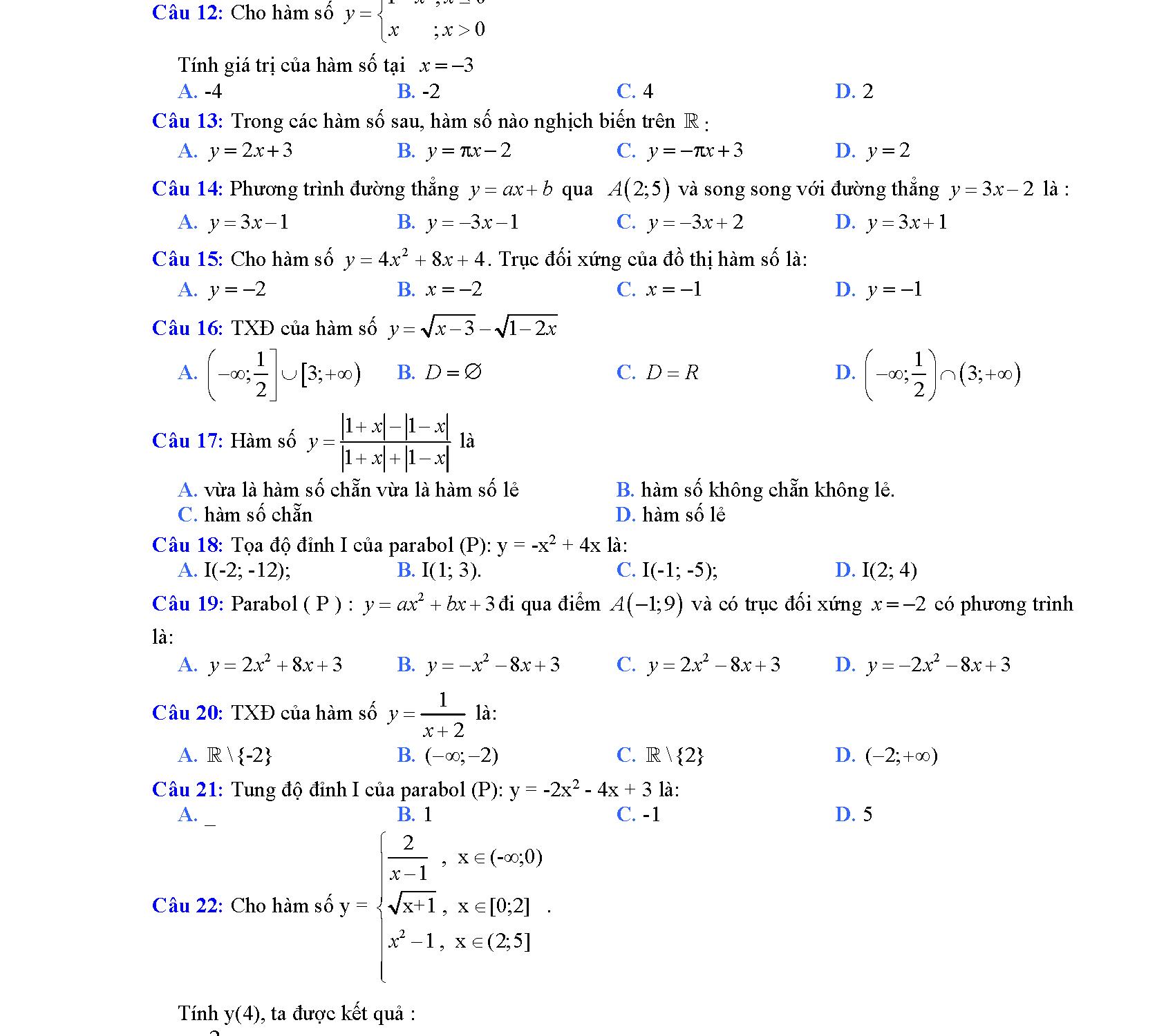 hàm số bậc 2 lớp 10 giai bai tap