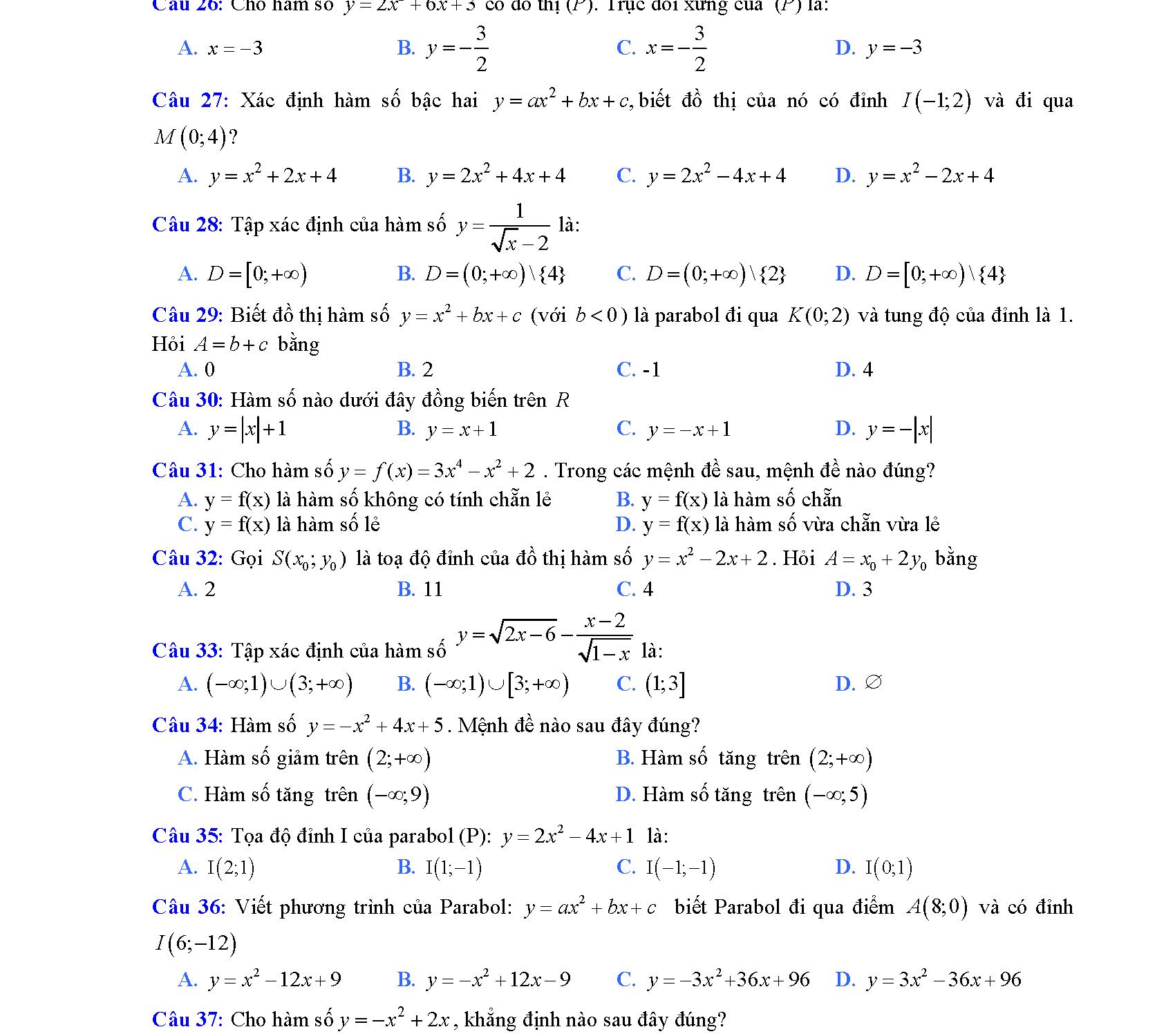 ôn tập chương 2 đại số 10