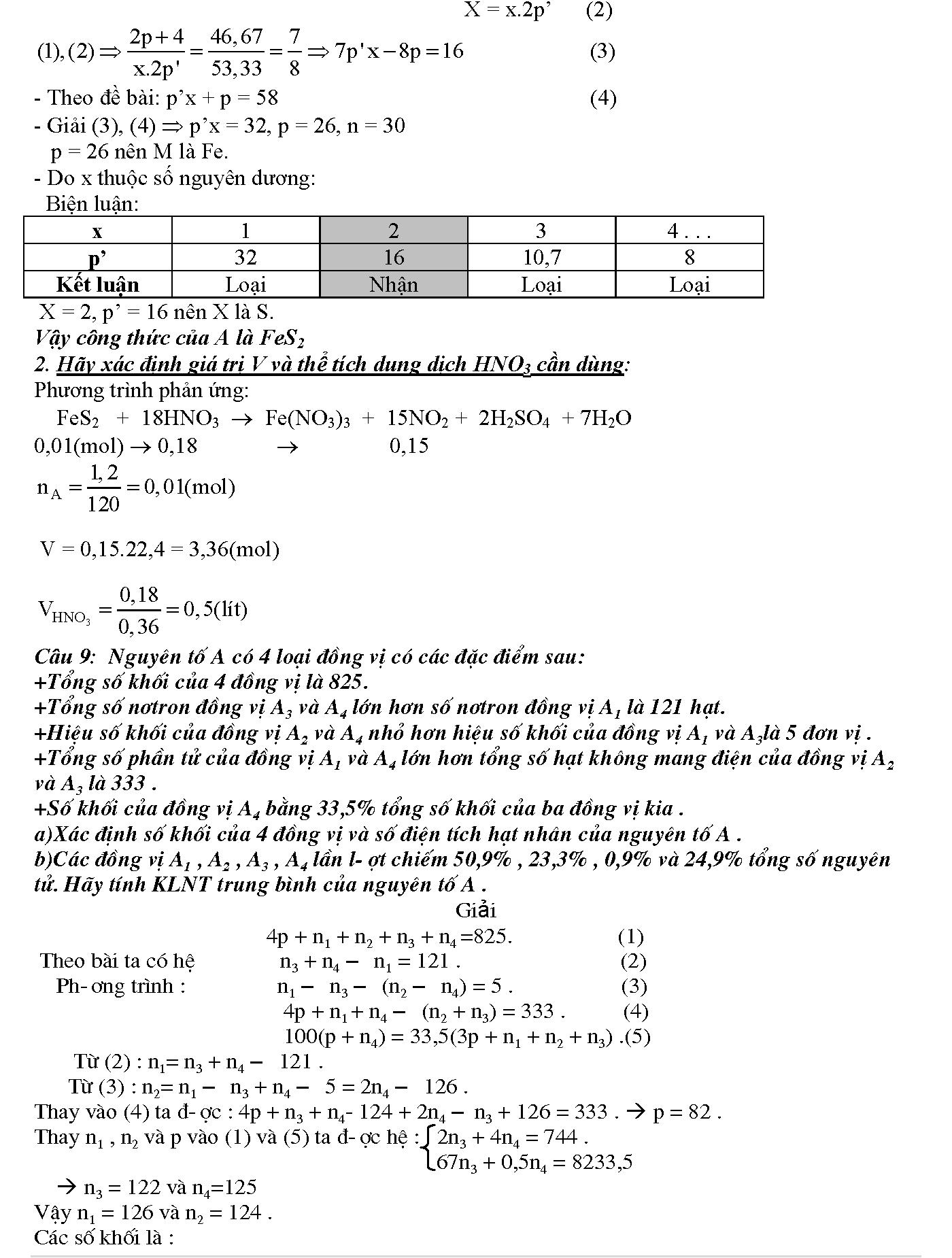 bài tập tính số hạt trong nguyên tử lớp 10 nâng cao