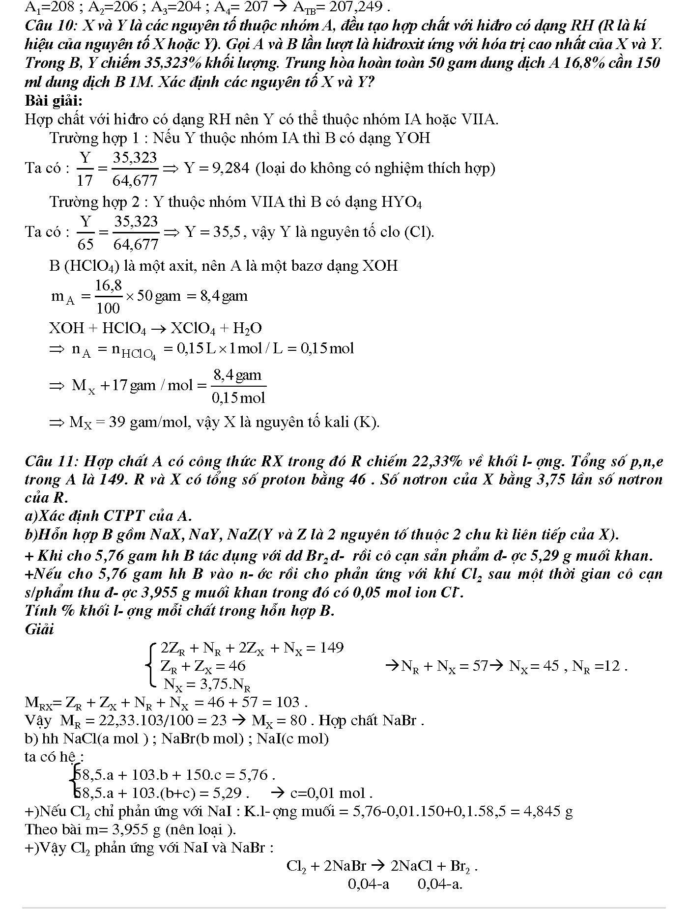 giải bài tập cấu tạo nguyên tử lớp 10