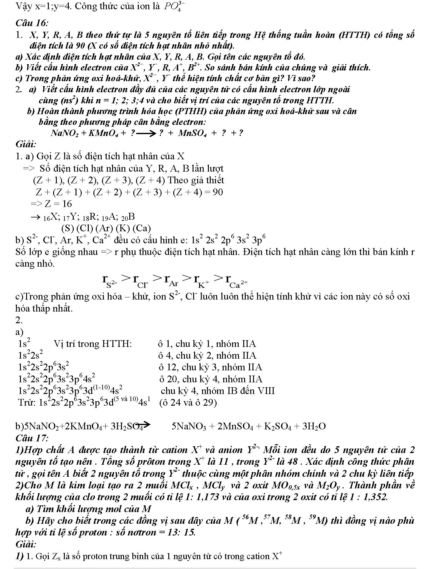 bài tập cấu tạo nguyên tử phần 2