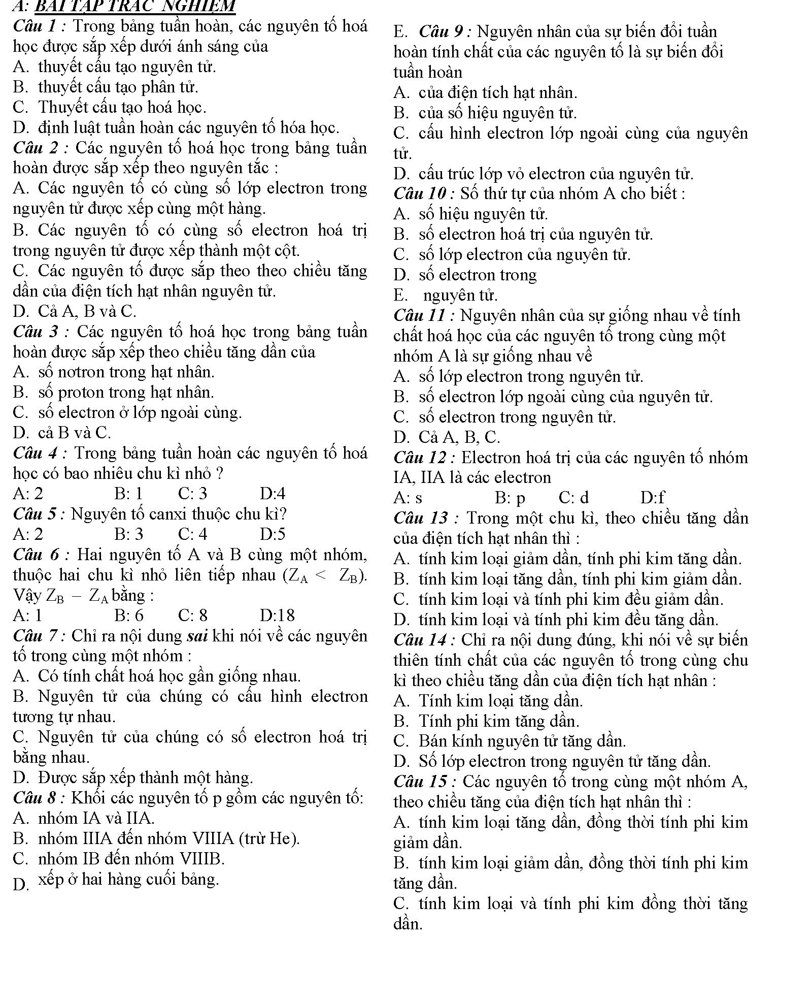 bài tập về ý nghĩa bảng tuần hoàn