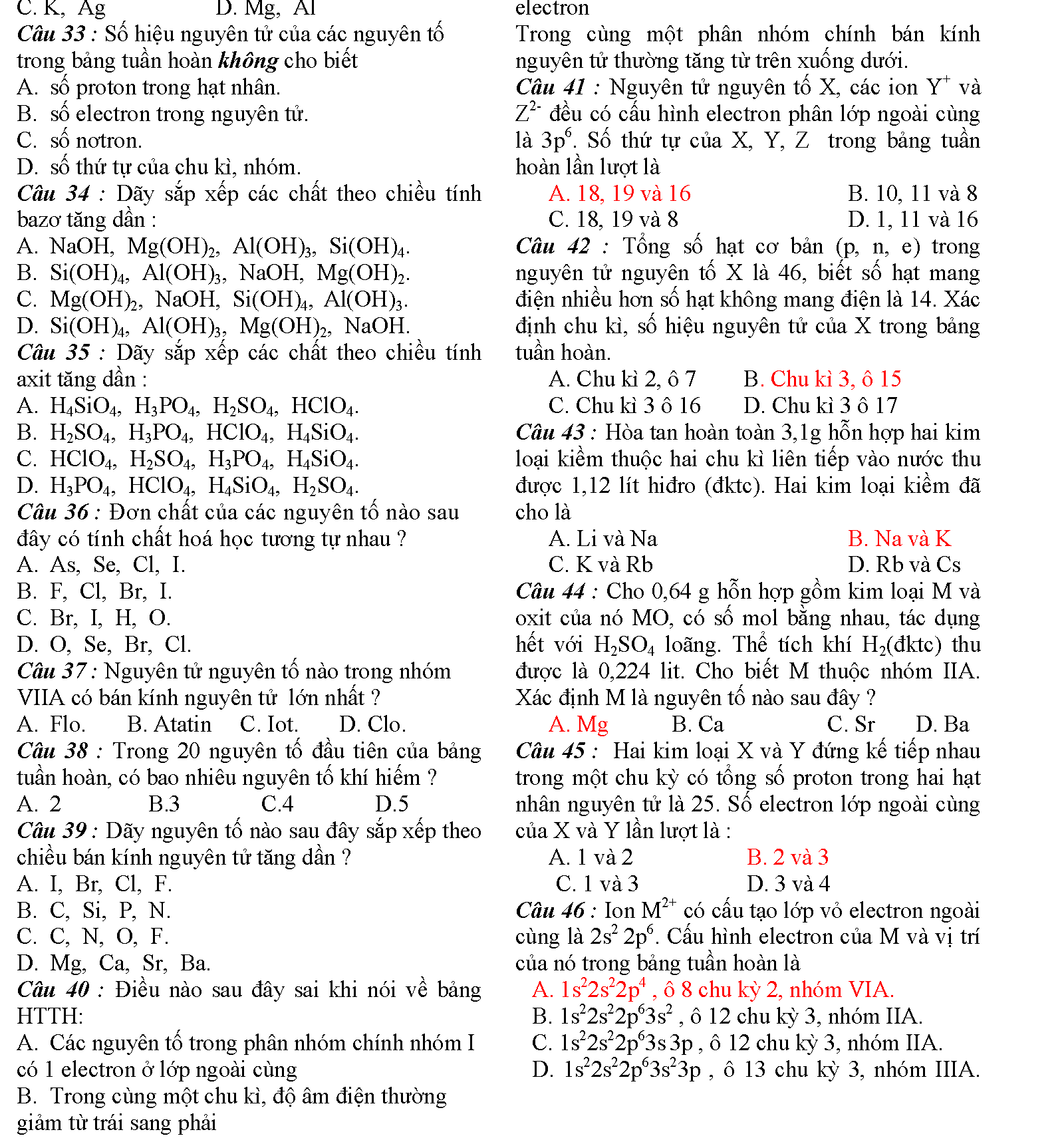 bài tập xác định nguyên tố trong bth